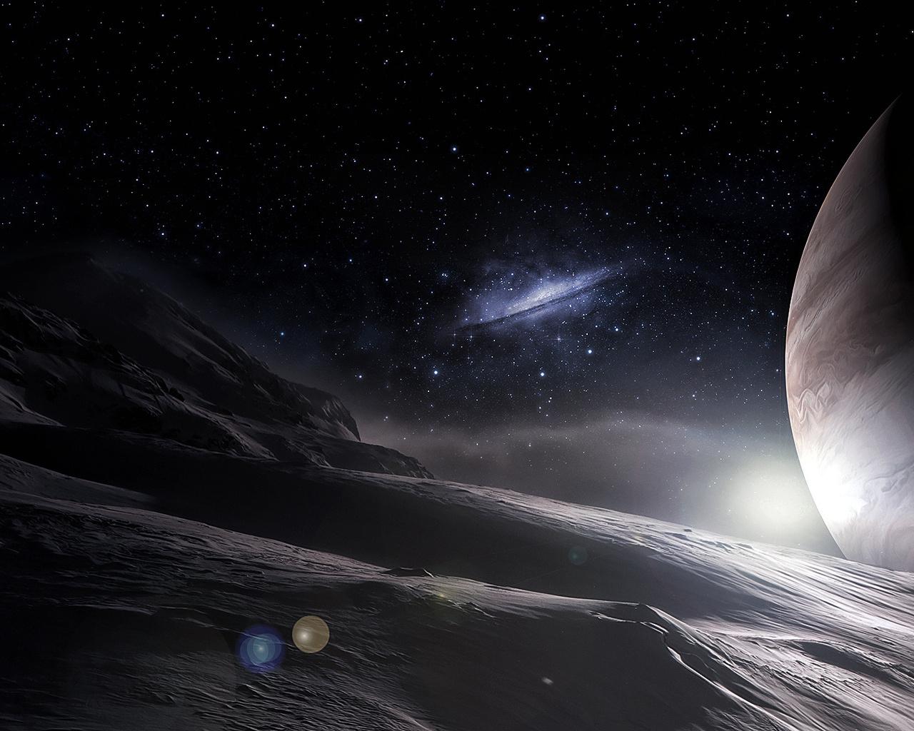 Арт, поверхность, космос, планеты, звезды, галактика