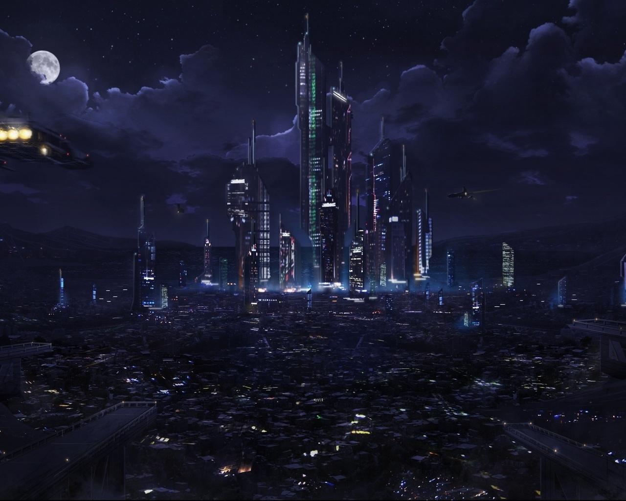 ken lebras, spaceships, Plaza, future, city, lights, moon, sky, night, fantasy, clouds, astrokevin
