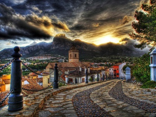 houses, road, old, mountain, street, Architecture, colorful, sky, colors, hdr, sunset, clouds
