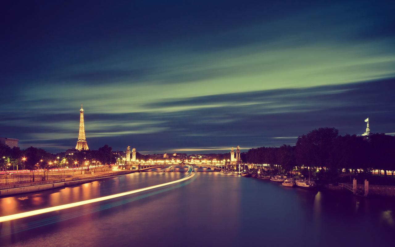 река, париж, франция, Город