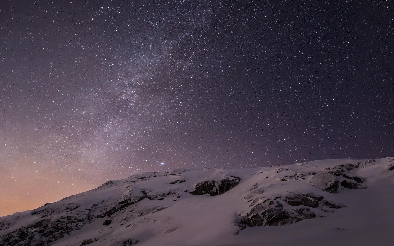 зима, небо, звёзды, снег, apple, ios8