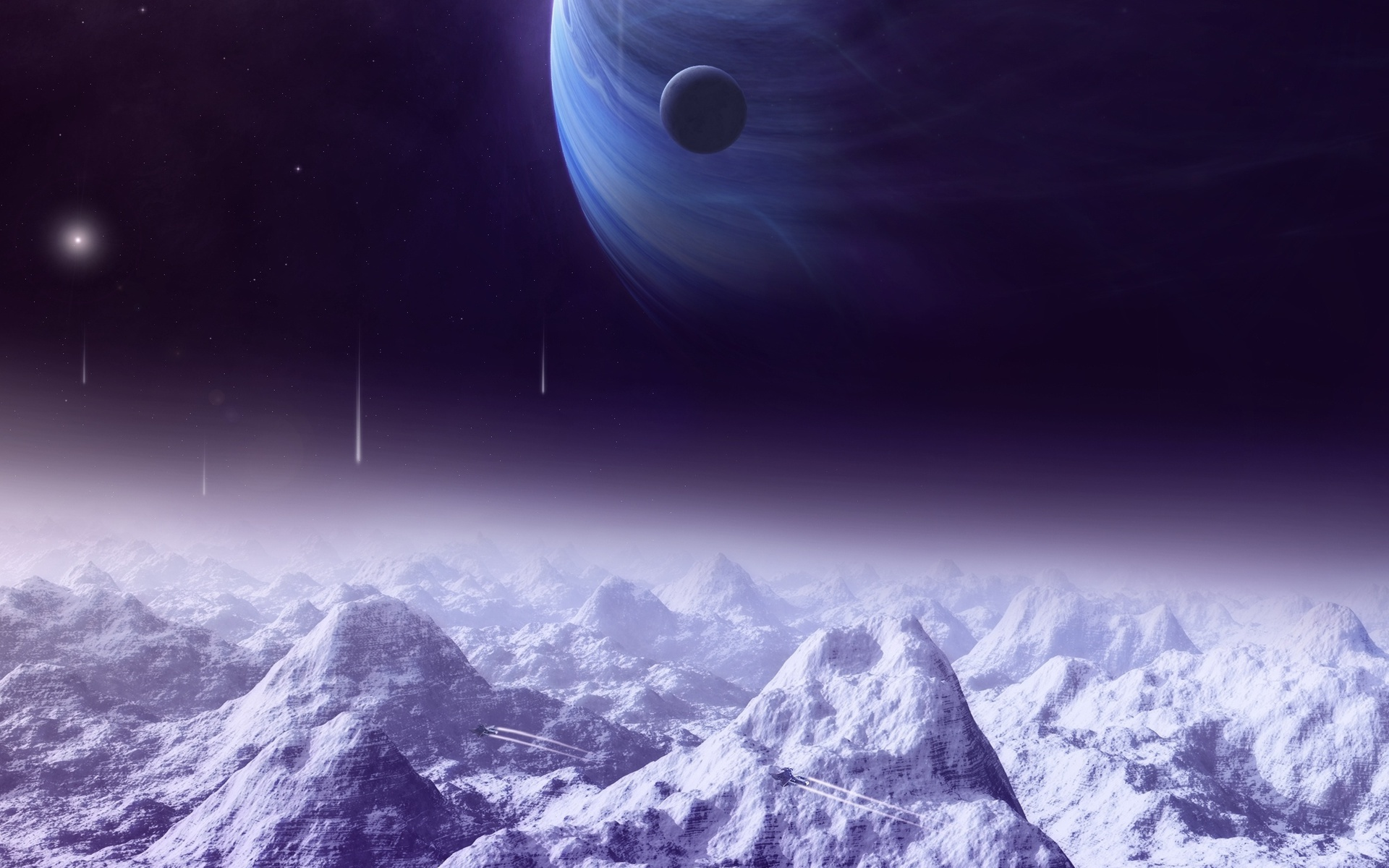 space ships, Sci fi, satellite, mountains, planets, lights, moon