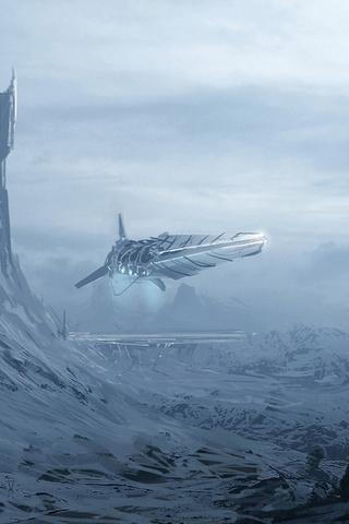 корабль, человек, Арт, горы, башни, снег, фантастика