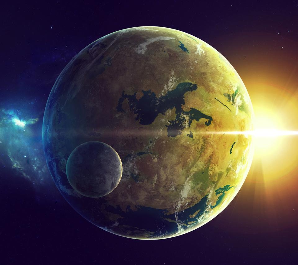 sci fi, Planet, land, oceans, star, two, light