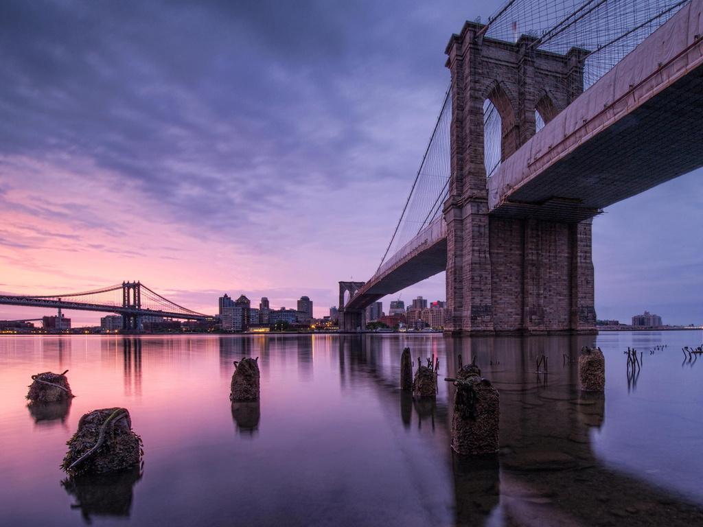 brooklyn bridge, usa, город, Сша, река, нью-йорк, мост, new york