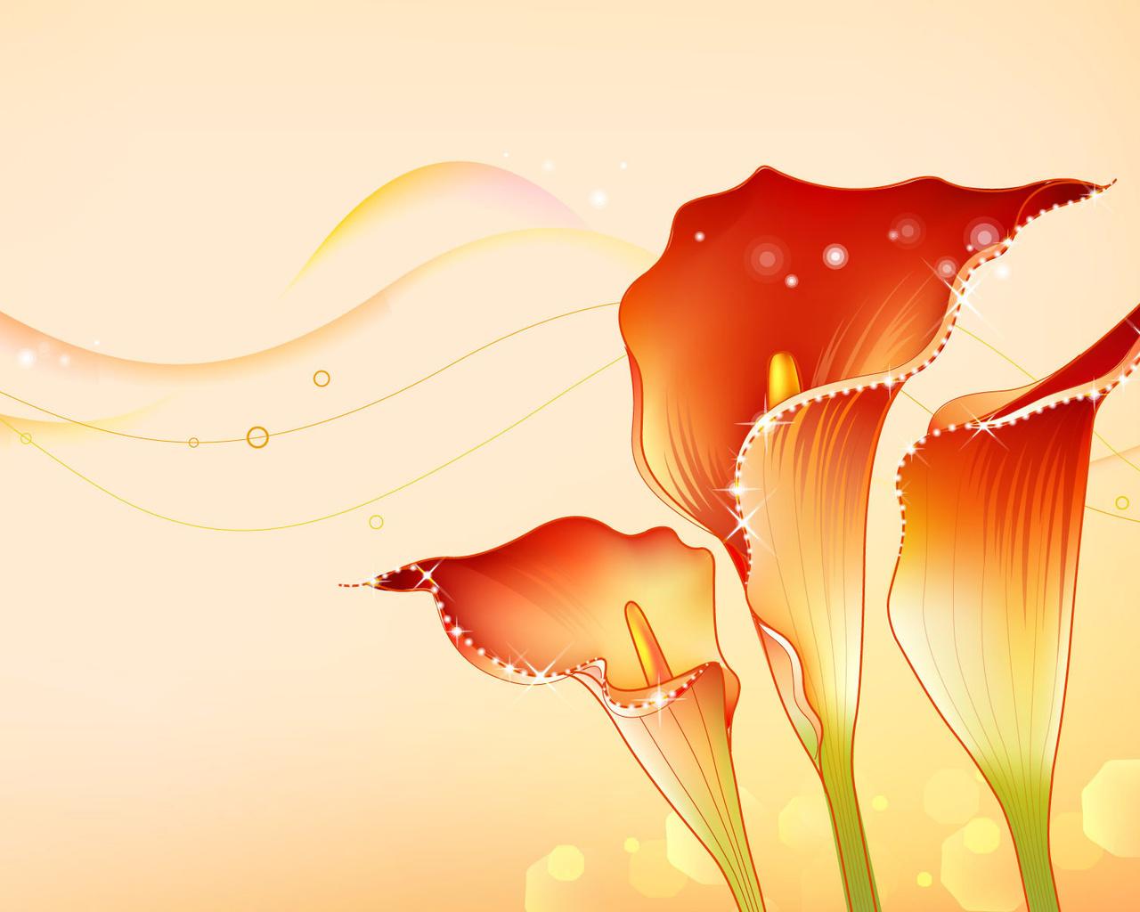 Цветы, стебель, лепестки, каллы, волны, открытка, линии
