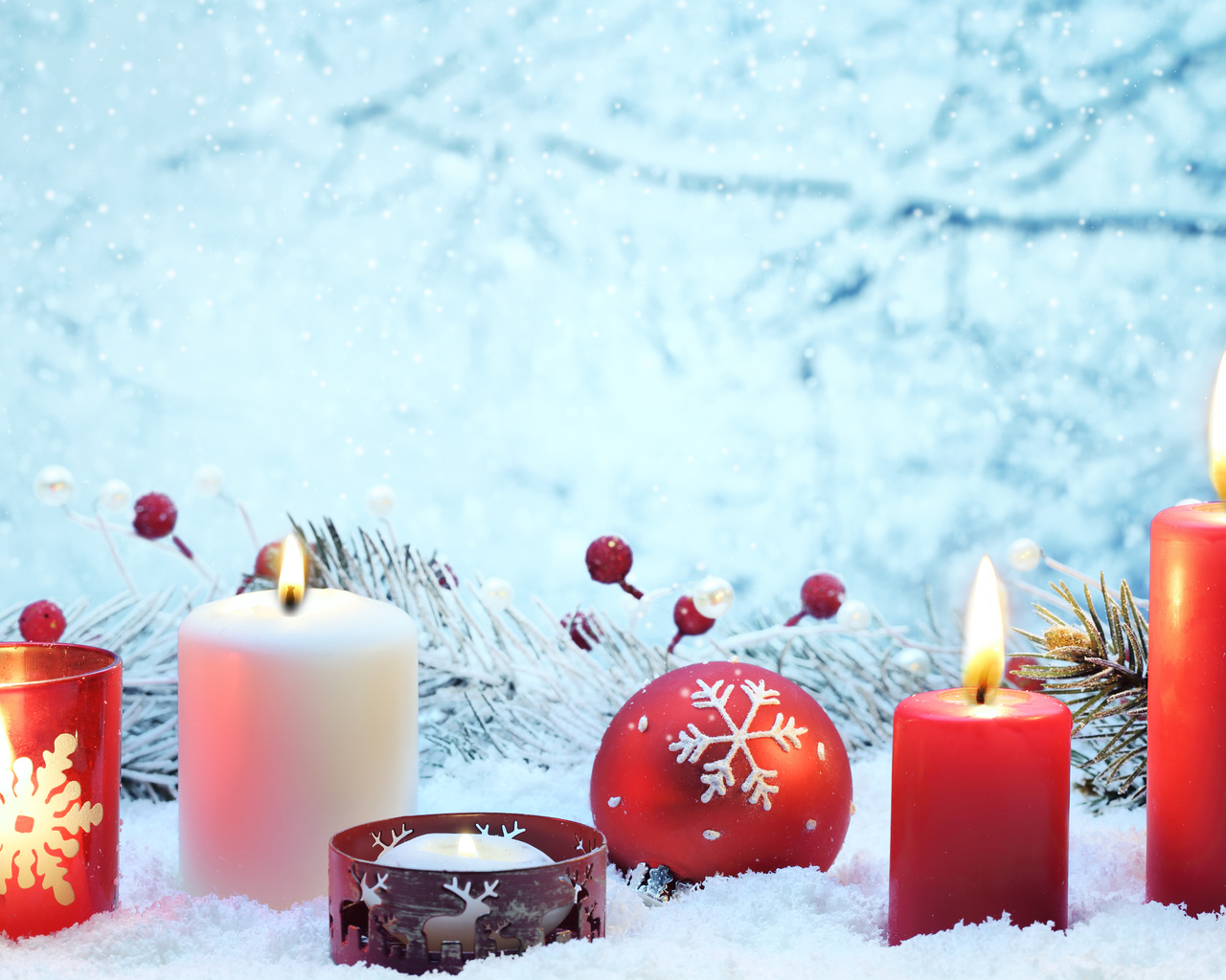 ornaments, , cherry, , decoration, balls, red, Merry christmas, new year, lights, candles, bokeh