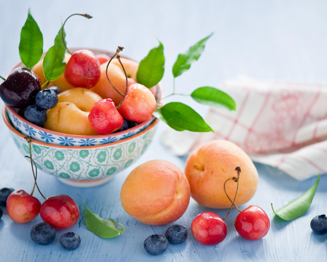вишня, фрукты, черешня, Абрикосы, черника, ягоды