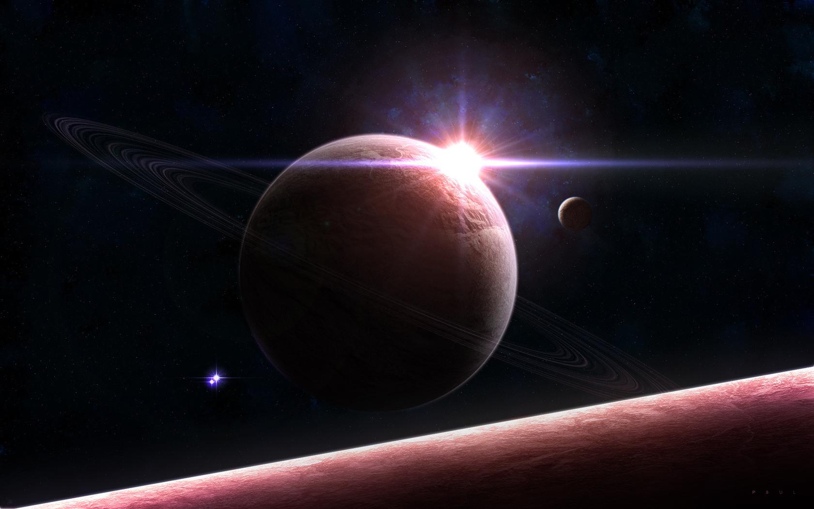 Солнце, кольца, свет, планета