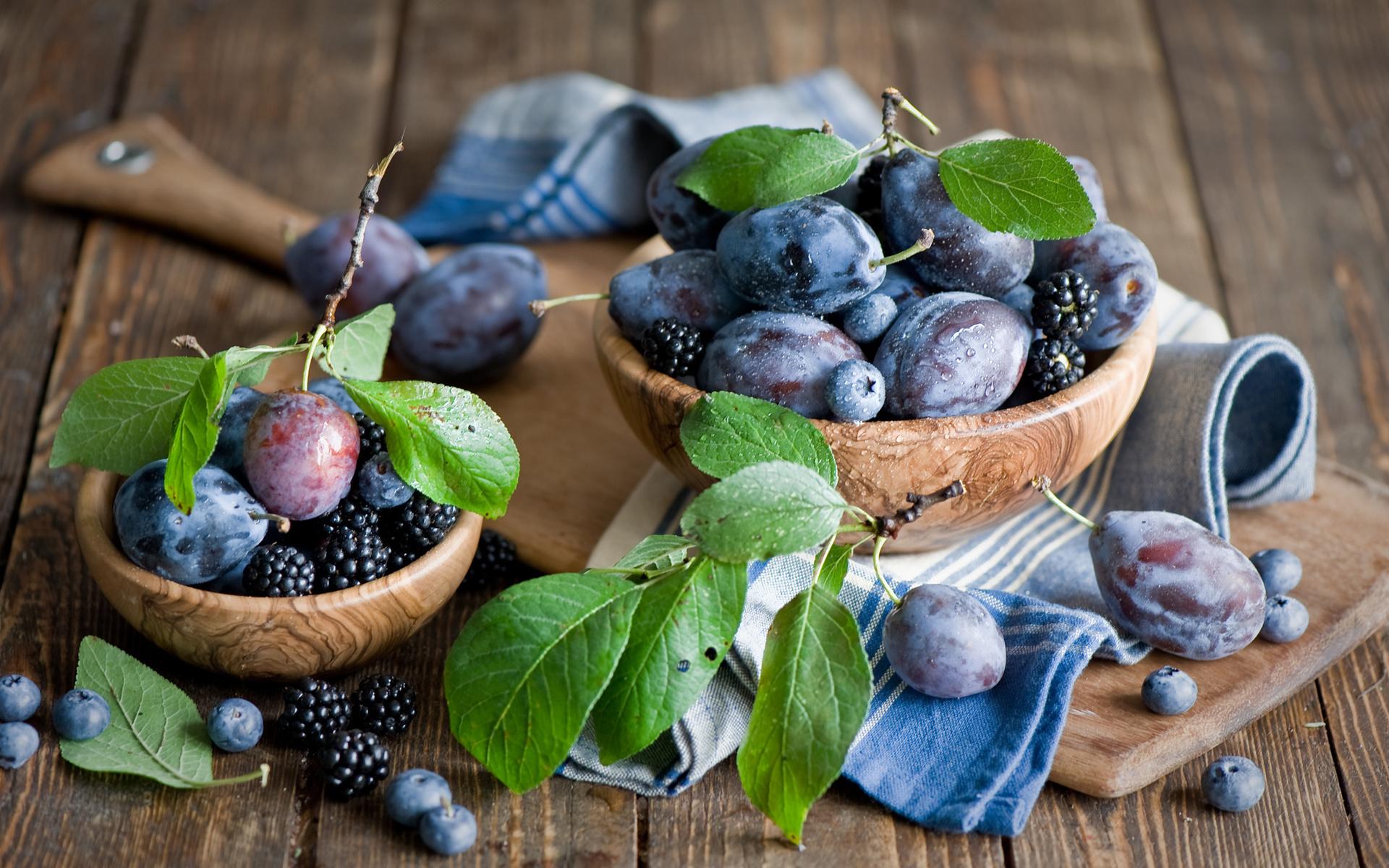 листья, фрукты, ежевика, доска, Сливы, черника, ягоды
