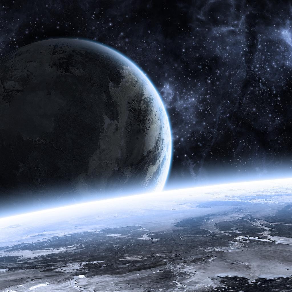 art, Planets, blue, stars, sci fi, kosmos