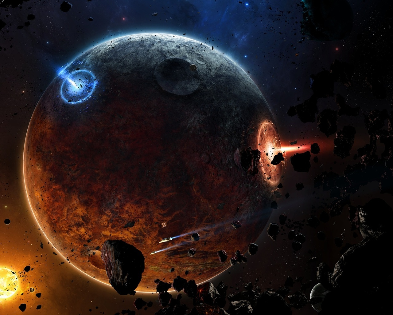 fire, planet, Spaceships, meteorites, astroides, sci fi