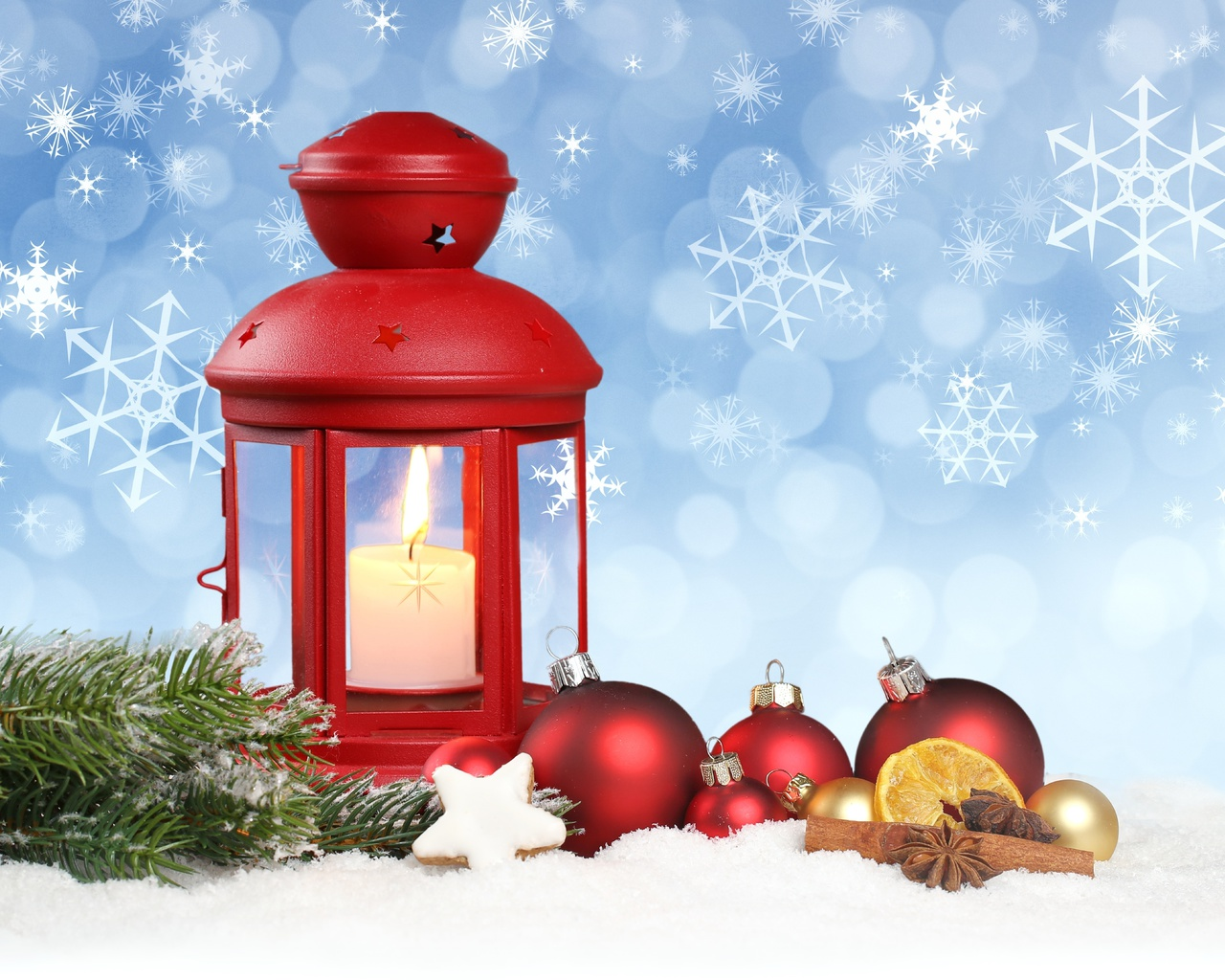 merry christmas, ornaments, новый год, snow, New year, balls, lantern, stars, snowflake