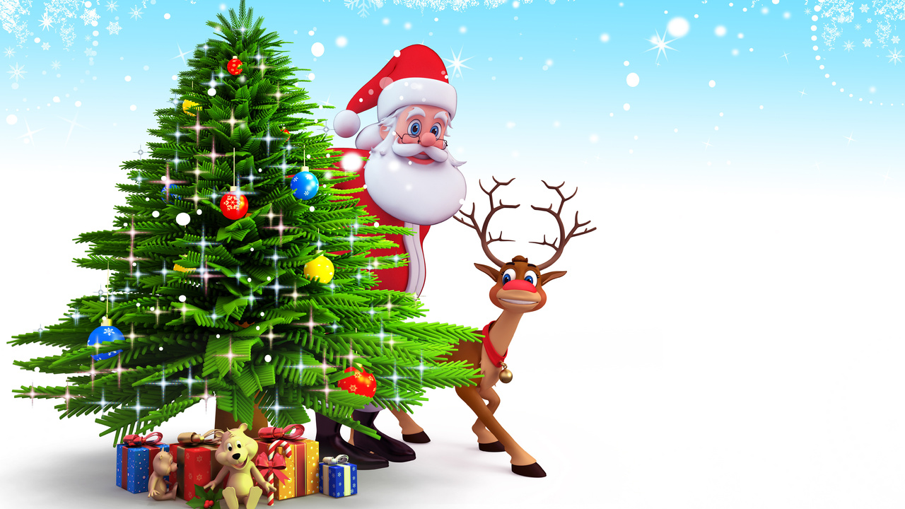 Christmas, 3d, reindeer, gifts, new year, santa claus, snow, рождество, christmas tree
