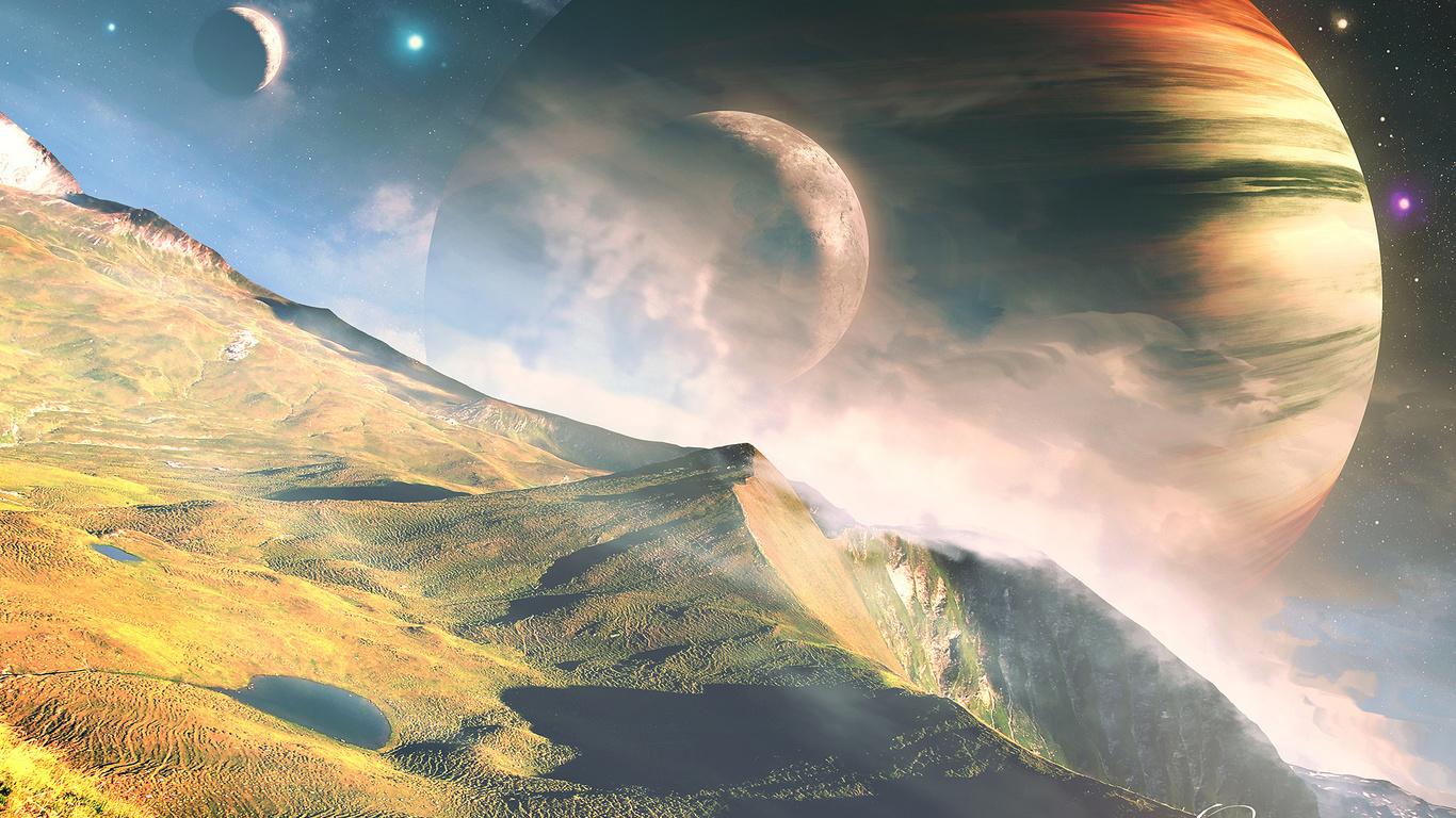 горы, космос, звёзды, qauz, Планеты, пейзаж