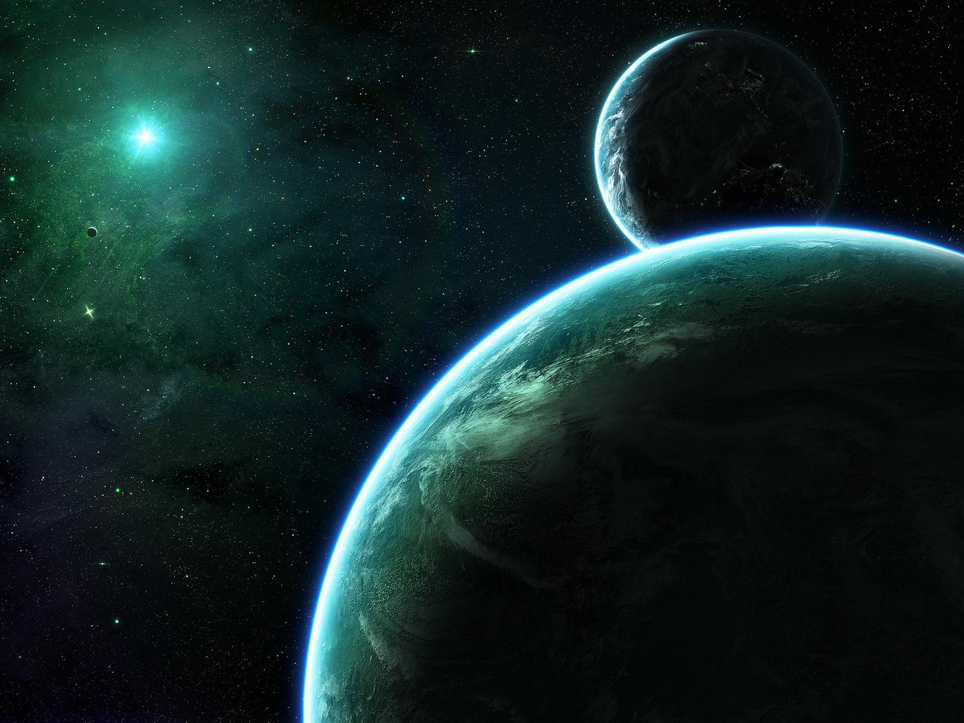 green, shadows, sci fi, darkness, planets, light, Planet, stars
