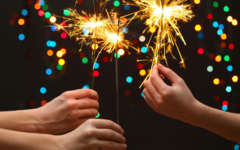 new year, lights, celebrate, kids, Merry christmas, hands, little girls, sparklers, bokeh