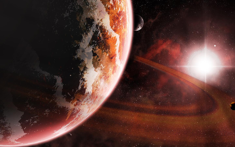 star, Planet, sci fi, sun, kosmos, red