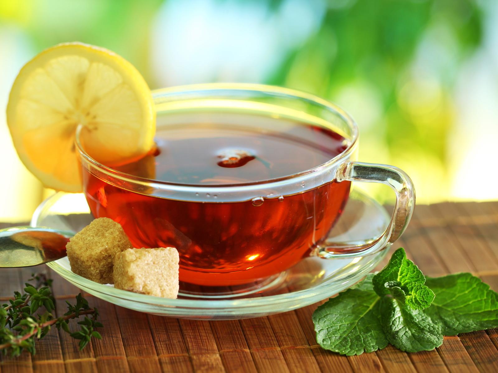 лимон, циновка, Чай, мята, сахар, ложка, блюдце, чашка