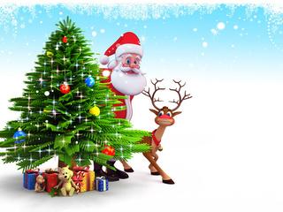 Christmas, 3d, reindeer, gifts, new year, santa claus, snow, рождество, christmas tree