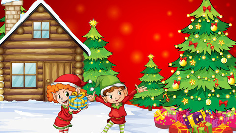 children, gifts, kids, christmas tree, Christmas, new year, , house, happiness, snow, boy, girl