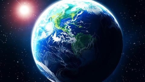 звезда, свечение, земля, арт, Космос, планета
