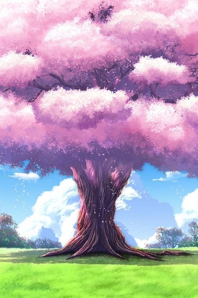 арт, Аниме, дерево, природа, upscale, пейзажи