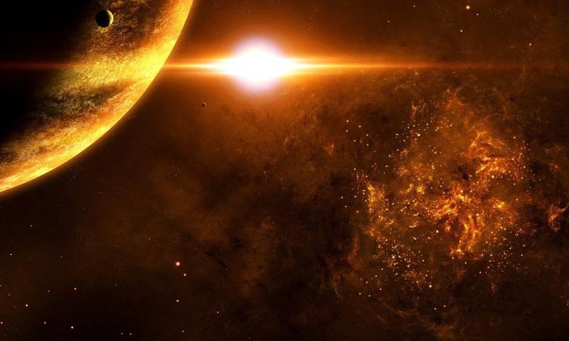 sci fi, moon, sarelites, planets, star, sun, Light