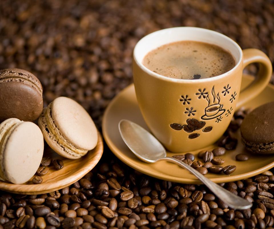 зерна, печенье, макарун, блюдце, macaron, чашка, ложка, Кофе