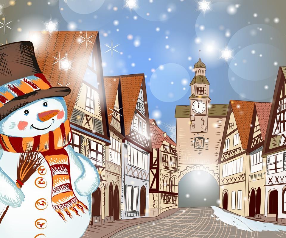 Christmas, горы, зима, merry christmas, деревья, дом, снег