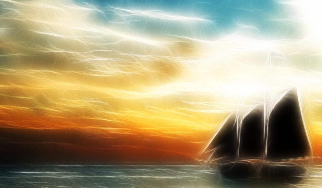 линии, парусник, облака, Море, небо, горизонт, корабль