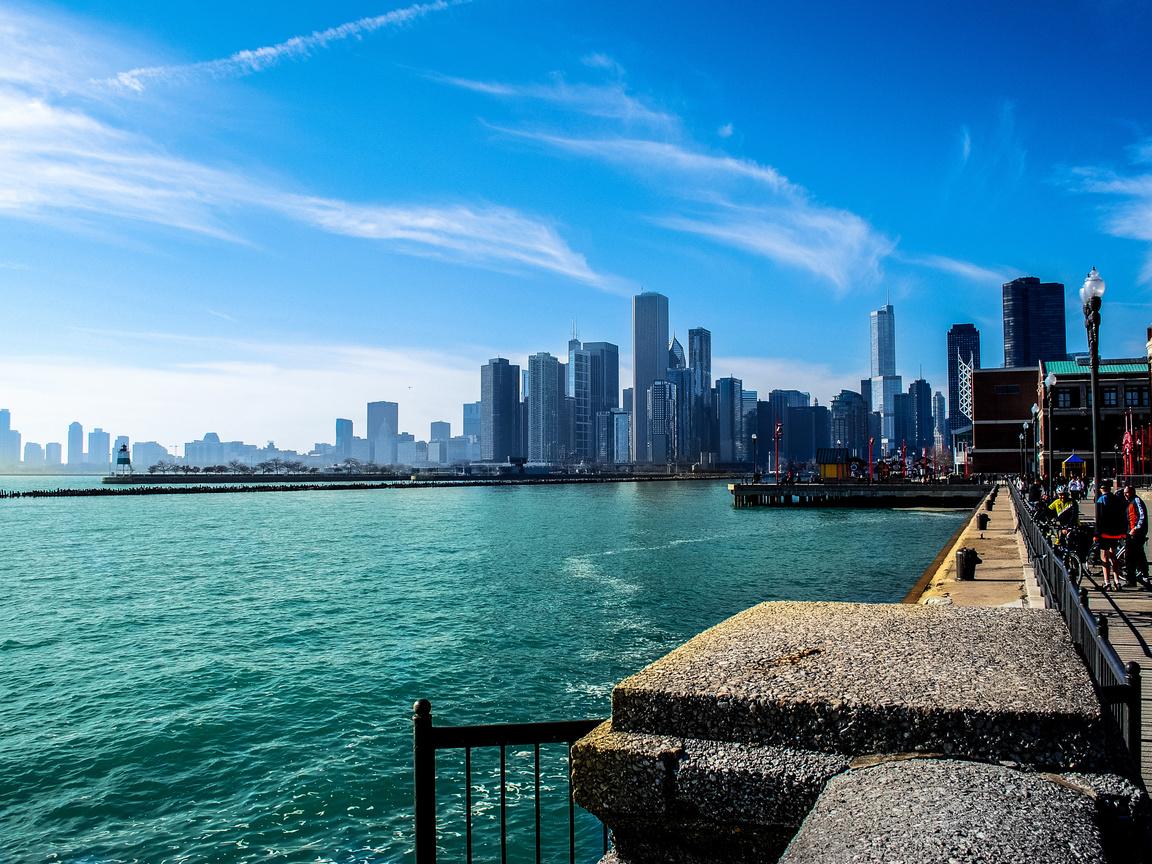 река, город, мичиган, Чикаго, небоскребы, иллиноис