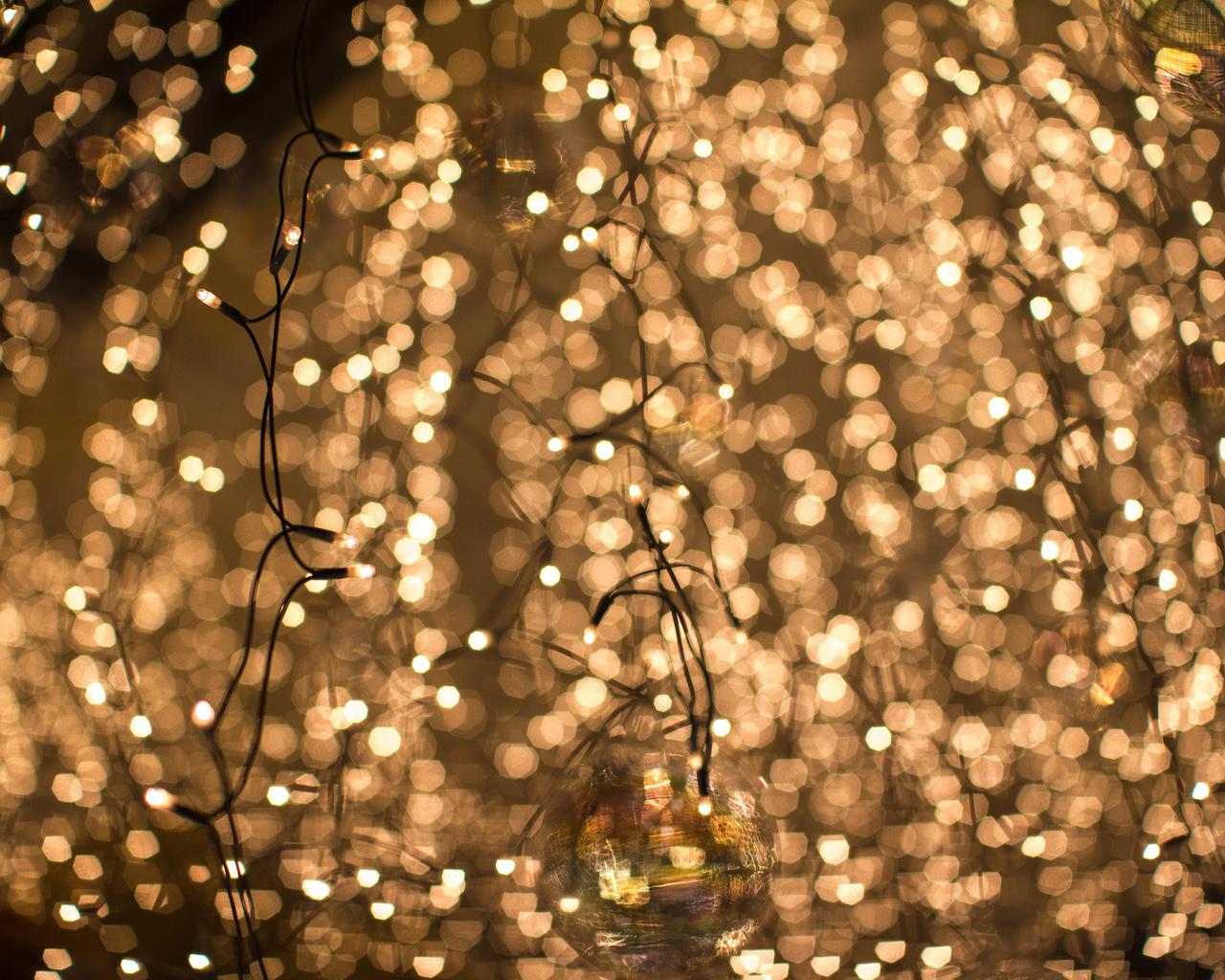 Гирлянда, шары, размытость, огни, боке, желтые