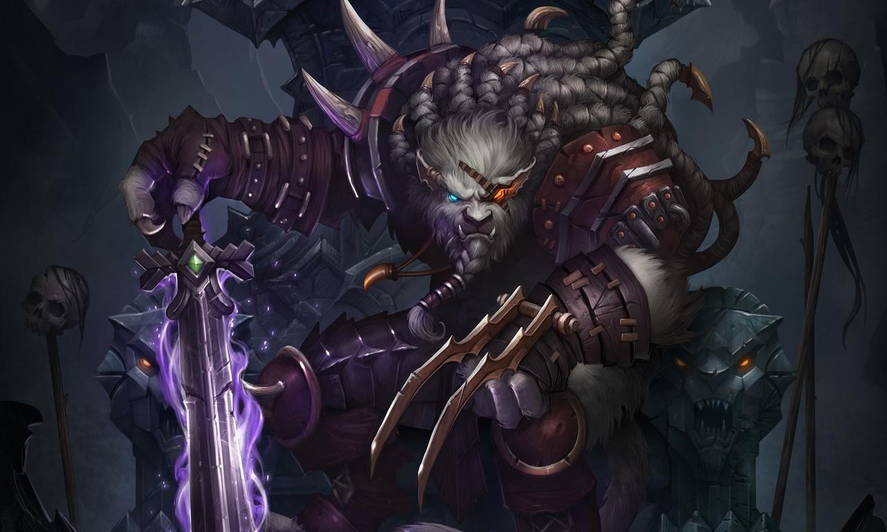 трон, меч, rengar, повязка, череп, воин, league of legends, волк, Арт