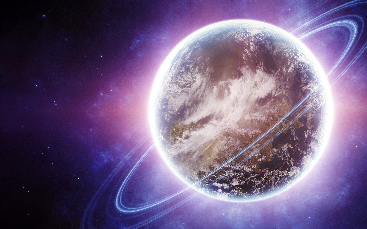 ring, violet and lights, Planet, sci fi