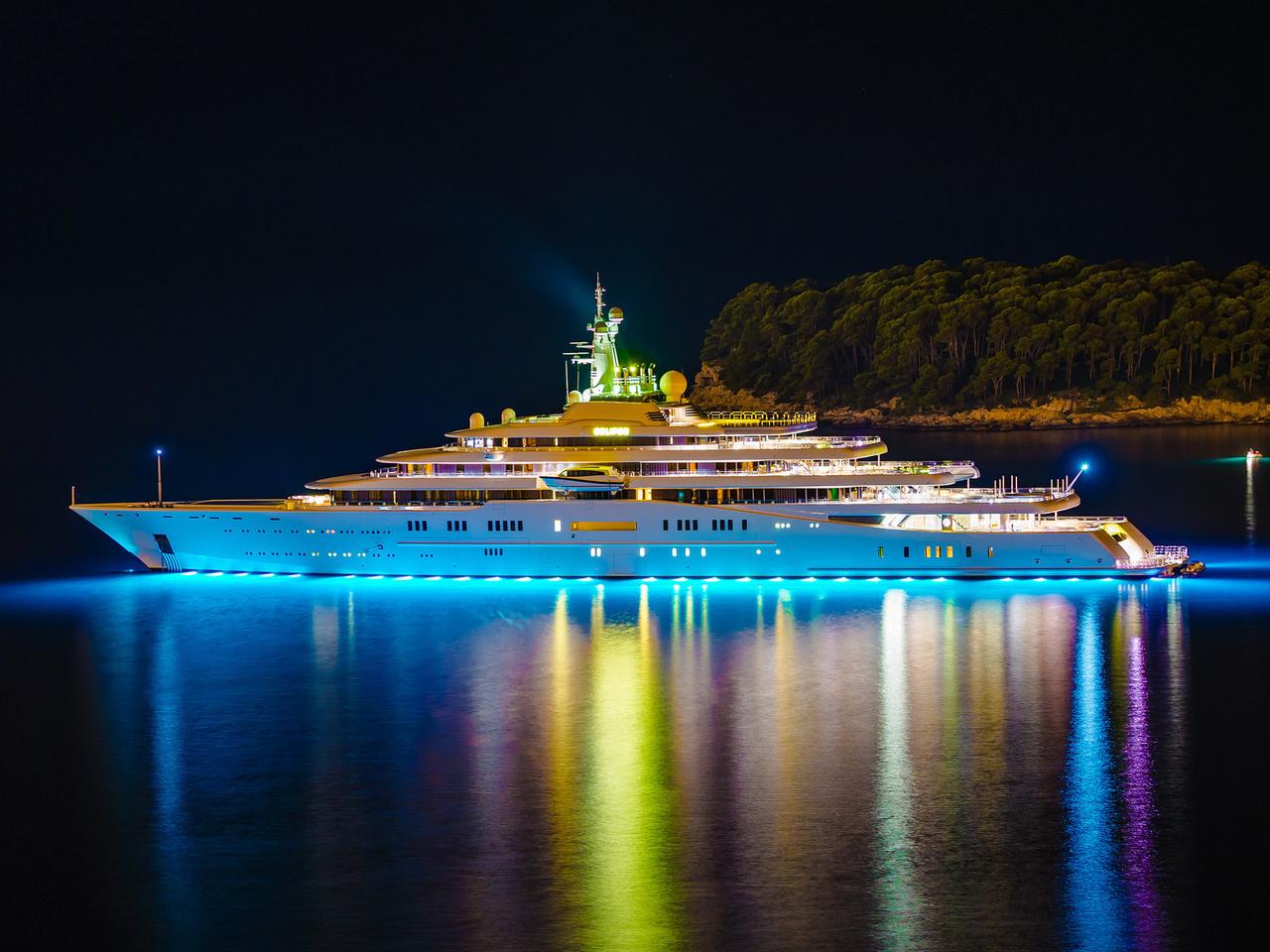 eclipse, yacht, огни, Роскошная, остров, мега, яхта, ночь
