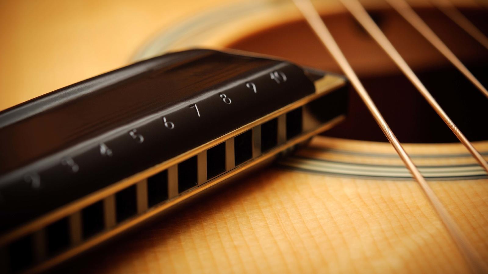 акустика, Гитара, губная гармошка, струны, макро.