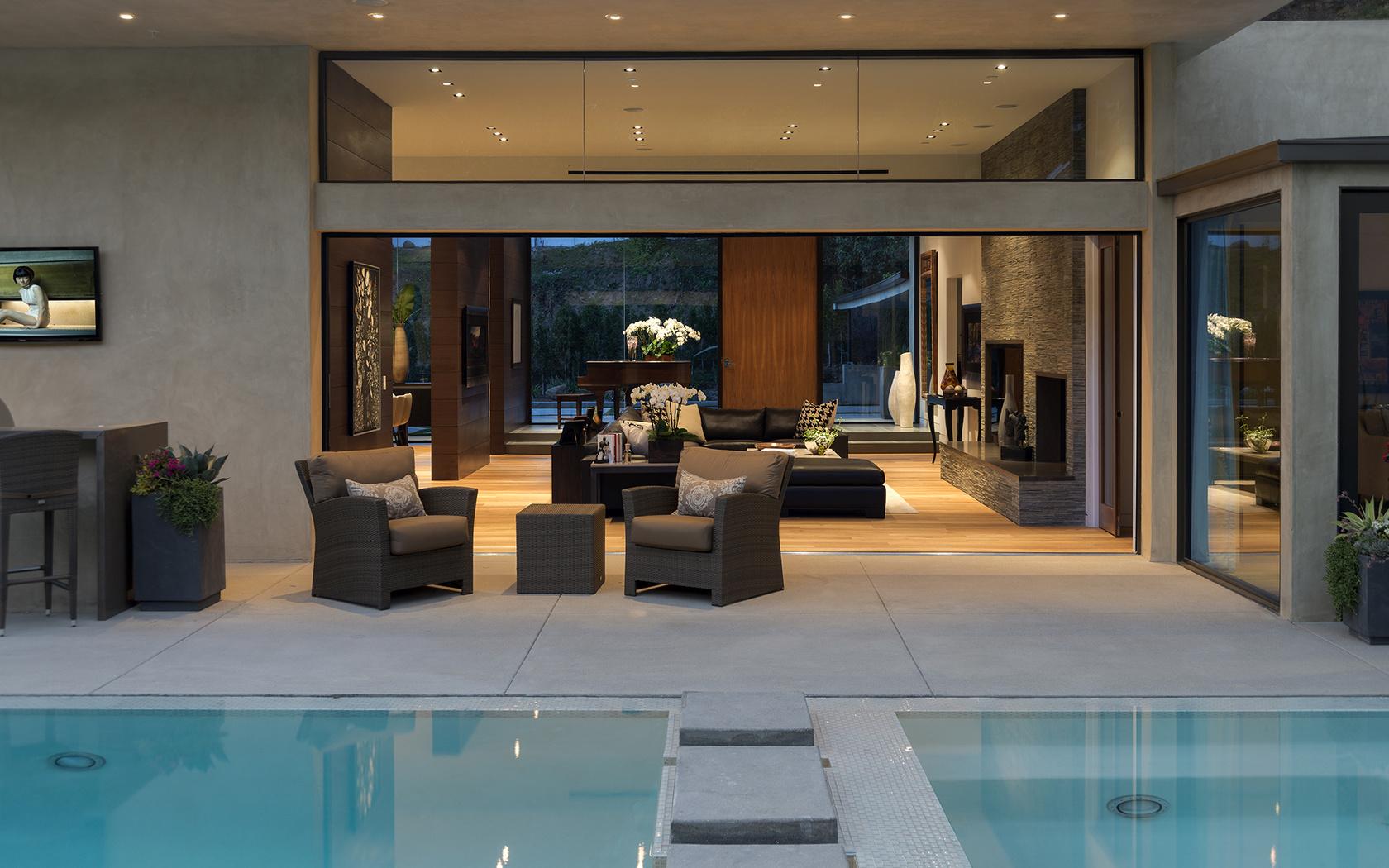 бассейн, home, столик, картины., Interior, кресла, pool, диван