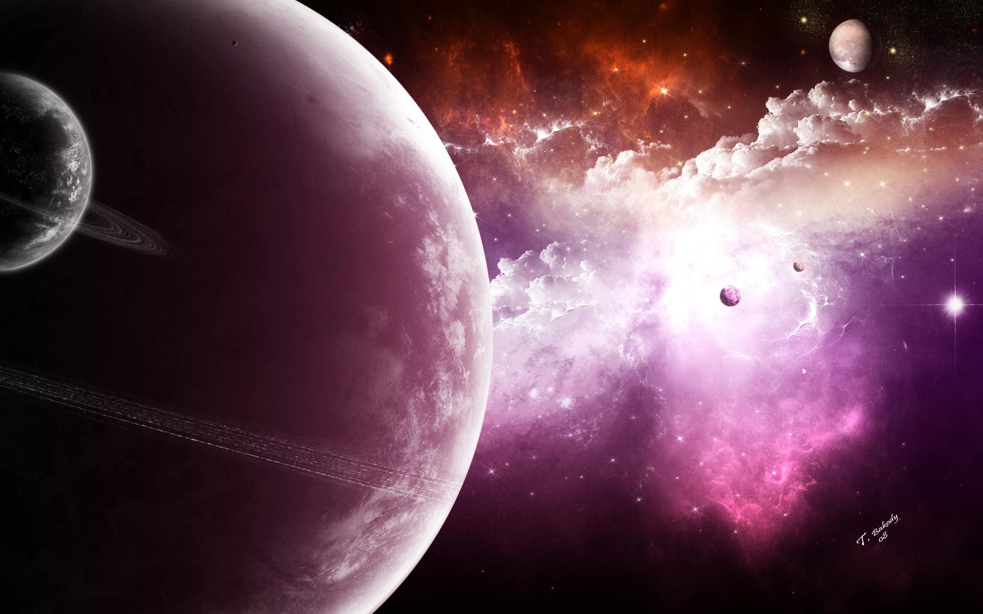 satellites, sci fi, light, Planet, stars