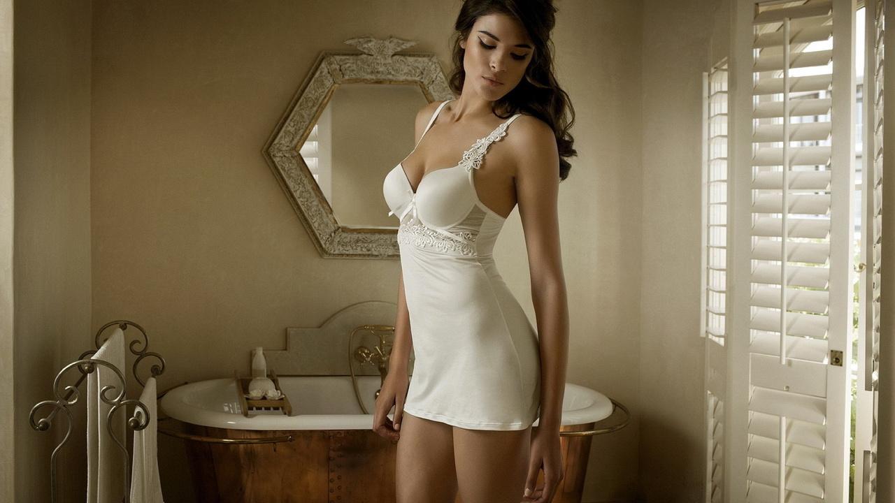 модель, зеркало, Jenna pietersen, красивая девушка, ванна