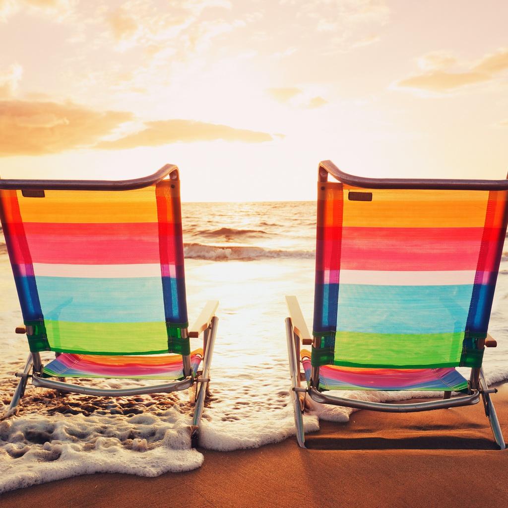 закат, море, стулья, цвета, небо, пляж