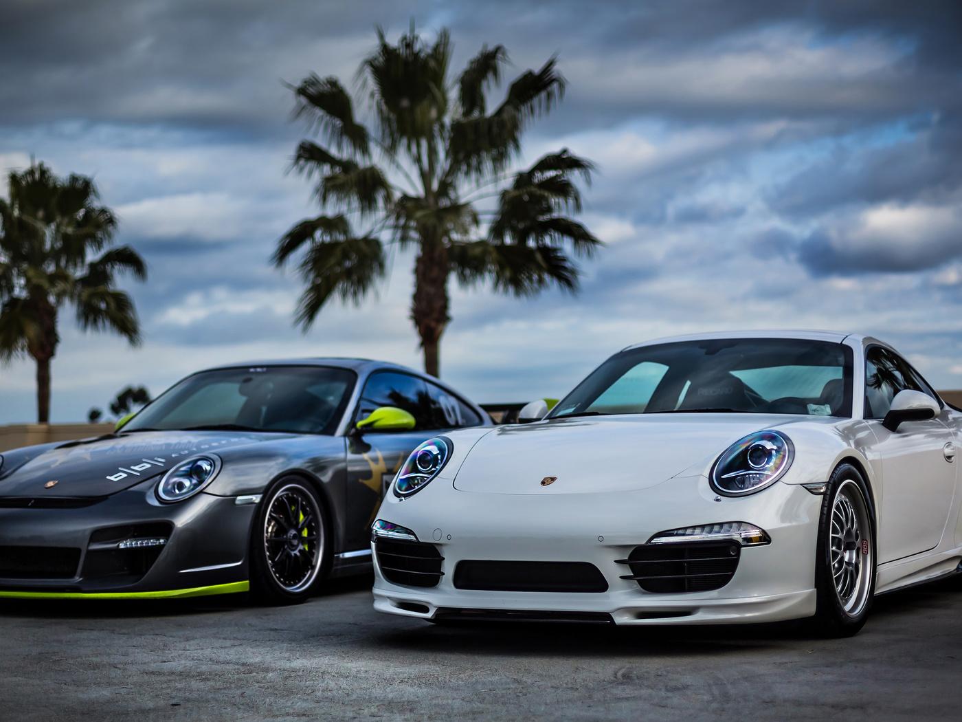 white, silver, sky, front, Porsche, palm, белый, порше, 911, небо, серебро