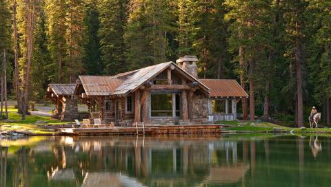 дом, деревья, озеро, вода, лес, лето