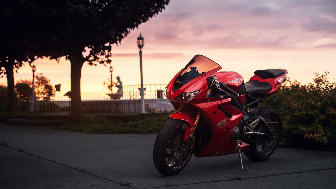 Triumph, спортбайк, сумерки, daytona, 675, red, небо, мотоцикл