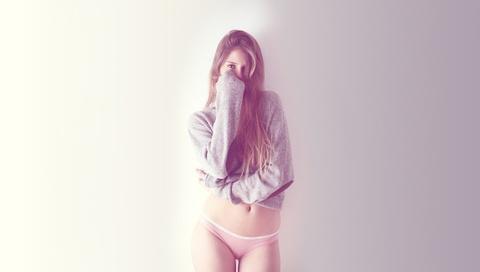 девушка, взгляд, тона, свитер