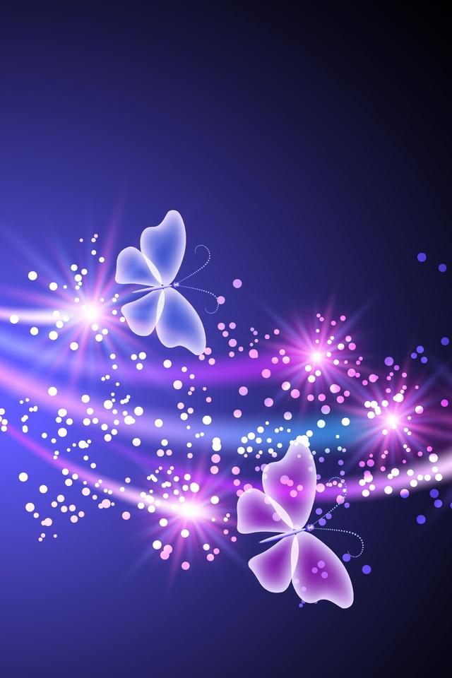 abstract, butterflies, sparkle, неоновые, glow, blue, Neon, бабочки, pink