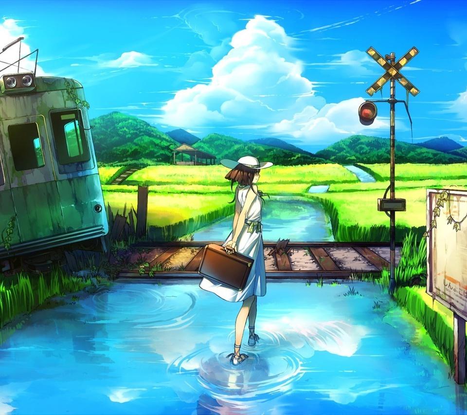 вода, руины, девушка, вагон, пейзаж, Арт, заброшенность
