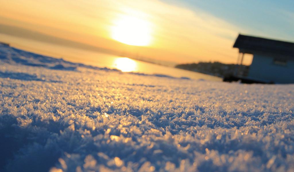 солнце, фон, зима, размытие, snow, macro, Макро, снег, winter