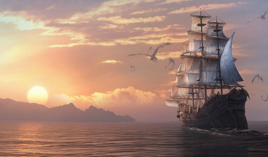 море, драконы, dragon eternity, драконы вечности, Арт, корабль