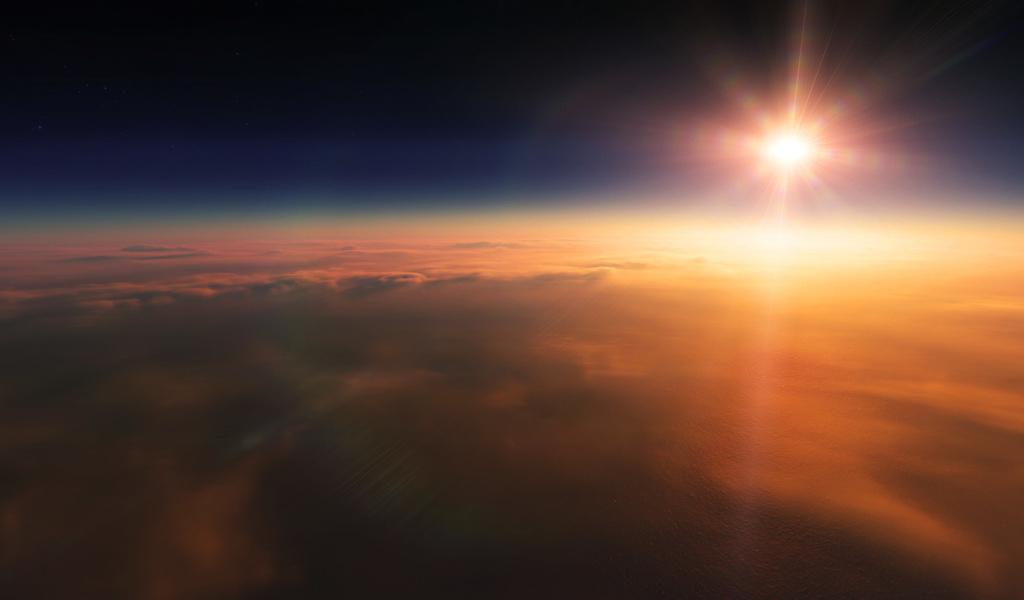 облака, звёзды, Солнце, закат, лучи